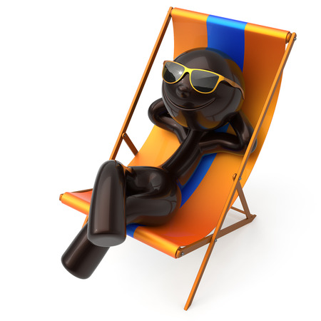 Man chilling beach deck chair summer smiling sunglasses cartoon character stylized relaxing person sun lounger tourist sunbathe rest outdoor vacation lifestyle travel destination. 3d illustration Stock Photo