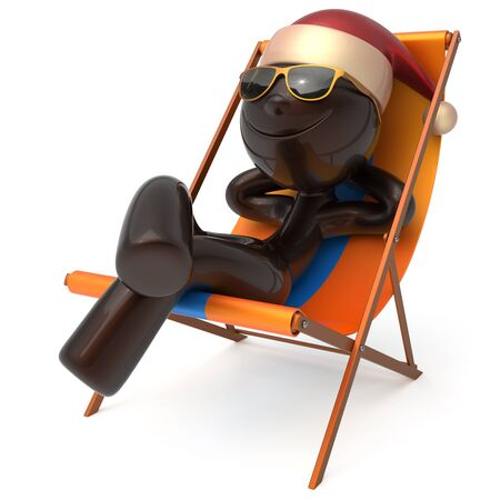 Smiley Merry Christmas character happy Xmas vacation New Years Eve man sunglasses Santa Claus hat person chilling beach deck chair enjoy travel sun lounger chaise sunbathe relax rest. 3d illustration