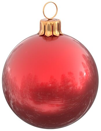 red sphere: Christmas ball red New Years Eve bauble decoration shiny wintertime hanging sphere adornment souvenir. Traditional ornament happy winter holidays Merry Xmas symbol classic. 3d illustration isolated Stock Photo