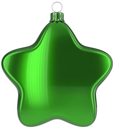 xmas star: Christmas star hanging decoration green New Years Eve bauble ornate Merry Xmas ball. Happy wintertime adornment greeting card design element traditional festive decor ornament blank. 3d illustration