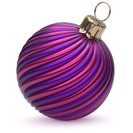 Christmas ball New Years Eve decoration blue purple shiny twisted stripes bauble wintertime hanging adornment souvenir. Traditional ornament happy Merry Xmas winter holidays symbol. 3d illustration Stock Photo