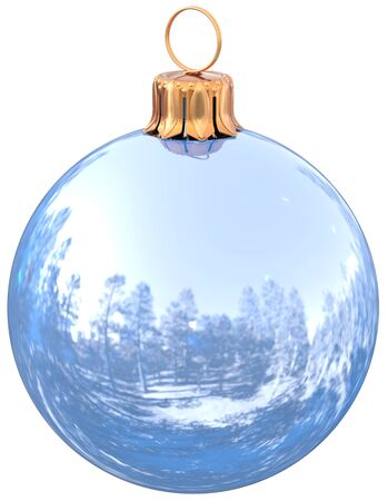 Christmas ball white New Years Eve bauble chrome decoration shiny wintertime hanging sphere adornment souvenir. Traditional ornament happy winter holidays Merry Xmas symbol closeup. 3d illustration
