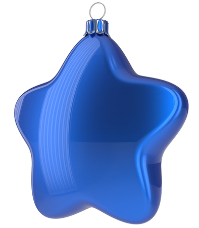 xmas star: Blue Christmas ball star shaped hanging decoration adornment New Years Eve bauble. Happy Merry Xmas greeting card design element traditional wintertime holidays decor ornament blank. 3d illustration Stock Photo