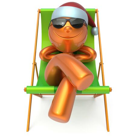 chilling: Man New Years Eve Merry Christmas smiley character sunglasses Santa Claus hat person happy Xmas vacation chilling beach deck chair enjoy travel sun lounger chaise sunbathe relax rest. 3d illustration
