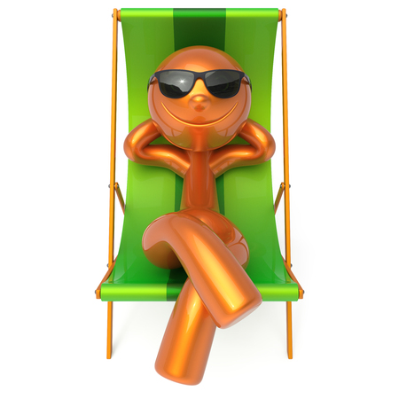 travel destination: Smiling relaxing man beach deck chair sunglasses summer cartoon character chilling stylized person sun lounger tourist sunbathing rest outdoor vacation lifestyle travel destination. 3d illustration