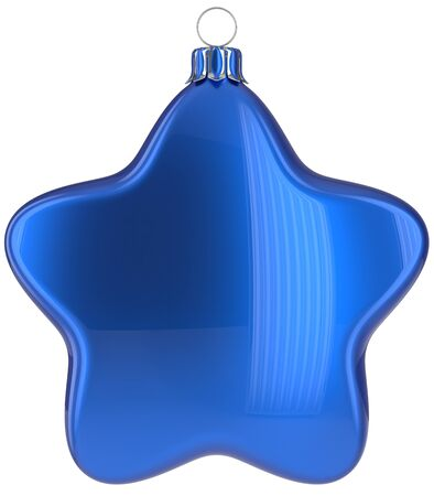 xmas star: Christmas star hanging decoration blue New Years Eve bauble ornate Merry Xmas ball. Happy wintertime adornment greeting card design element traditional festive decor ornament blank. 3d illustration Stock Photo