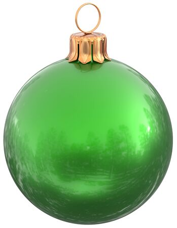 Christmas ball green New Years Eve bauble decoration shiny wintertime hanging sphere adornment souvenir. Traditional ornament happy winter holidays Merry Xmas symbol closeup. 3d illustration isolated