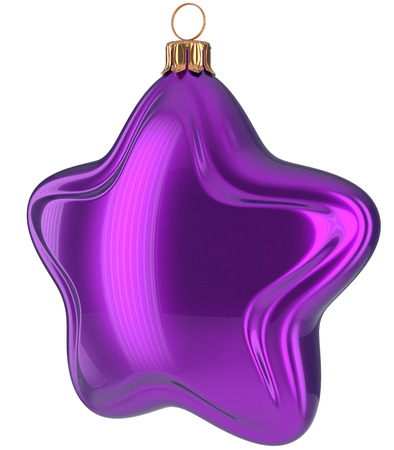 xmas star: Christmas star shaped Merry Xmas ball purple hanging decoration adornment New Years Eve bauble. Happy wintertime holidays greeting card design element traditional decor ornament blank. 3d illustration