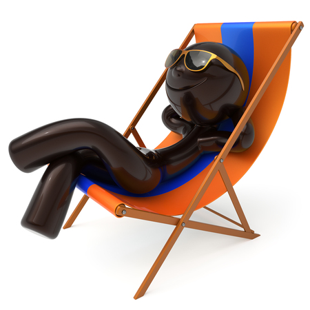 chilling: Man smiley relax beach deck chair sunglasses summer cartoon character chilling stylized person sun lounger tourist have fun sunbathe rest outdoor vacation lifestyle travel destination. 3d illustration