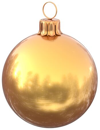 Golden Christmas ball New Years Eve bauble yellow decoration shiny wintertime hanging adornment gold souvenir. Traditional ornament happy winter holidays Merry Xmas symbol. 3d illustration isolated Stock Photo
