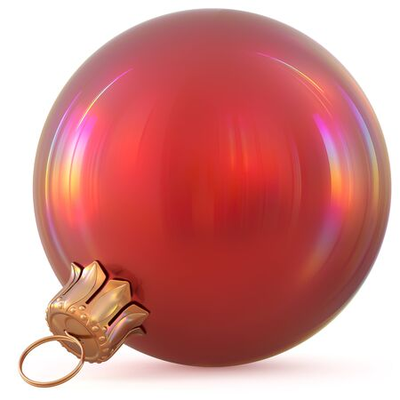 Christmas ball red New Years Eve decoration bauble wintertime hanging adornment souvenir. Traditional ornament happy winter holidays Happy Merry Xmas symbol blank shiny classic. 3d illustration