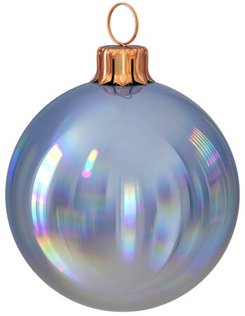 Christmas ball bauble silver New Years Eve decoration shiny wintertime hanging adornment sphere souvenir white. Traditional ornament happy winter holidays Merry Xmas symbol closeup. 3d illustration Stock Photo