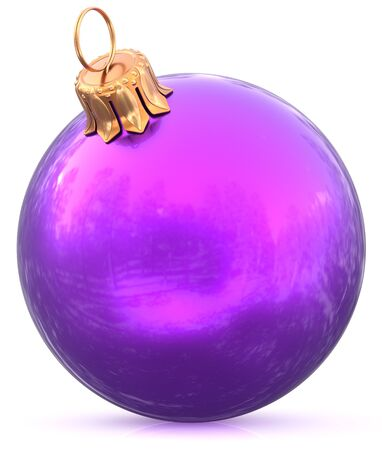 Christmas ball bauble New Years Eve blue purple decoration shiny wintertime hanging sphere adornment souvenir. Traditional ornament happy winter holidays Merry Xmas symbol closeup. 3d illustration