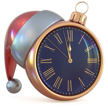 New Years Eve midnight hour Christmas ball clock countdown time Santa Claus hat decoration ornament golden adornment. Traditional happy wintertime holiday future beginning pressure. 3d illustration