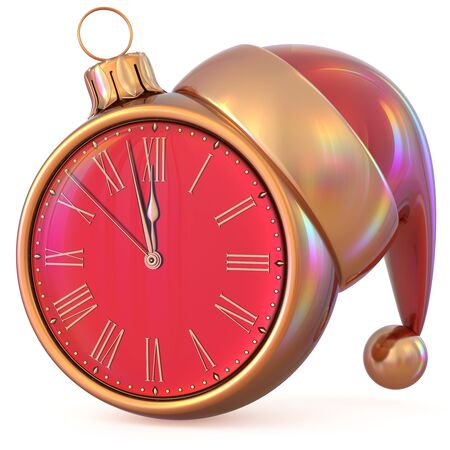 midnight time: Clock New Years Eve midnight hour countdown time Christmas ball Santa Claus hat decoration ornament red gold adornment. Traditional happy wintertime holiday future beginning pressure. 3d illustration