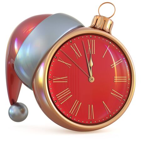 midnight time: Christmas ball New Years Eve clock midnight hour countdown time Santa Claus hat decoration ornament red gold adornment. Traditional happy wintertime holiday future beginning pressure. 3d illustration