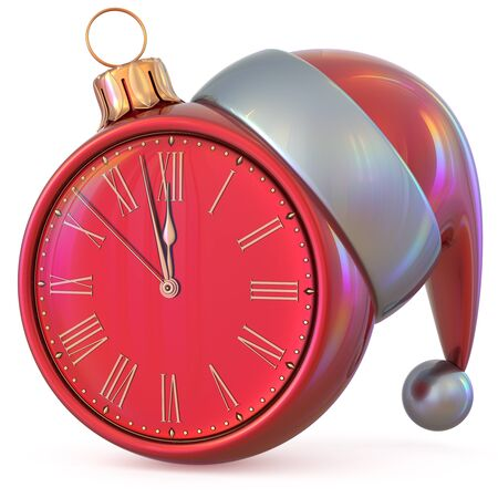 midnight time: Christmas ball clock New Years Eve midnight hour countdown time Santa Claus hat decoration ornament red adornment. Traditional happy Xmas wintertime holiday future beginning pressure. 3d illustration