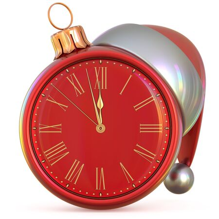 midnight time: New Years Eve clock Christmas ball midnight hour countdown time Santa Claus hat decoration ornament red adornment. Traditional happy Xmas wintertime holiday future beginning pressure. 3d illustration