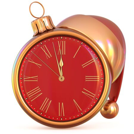 New Years Eve clock Christmas ball midnight hour countdown time Santa Claus hat decoration ornament red gold adornment. Traditional happy wintertime holiday future beginning pressure. 3d illustration