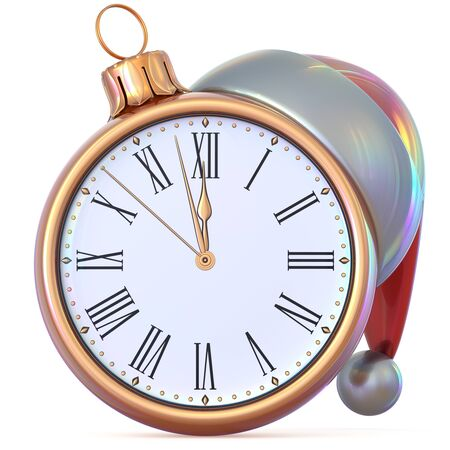 midnight time: New Years Eve clock golden Christmas ball midnight hour countdown time Santa Claus hat decoration ornament adornment. Traditional happy wintertime holiday future beginning pressure. 3d illustration Stock Photo