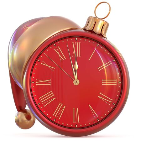 beginning: New Years Eve clock Christmas ball midnight hour countdown time Santa Claus hat decoration ornament red gold adornment. Traditional happy wintertime holiday future beginning pressure. 3d illustration