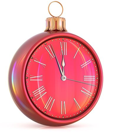 beginning: New Years Eve clock midnight hour countdown pressure Christmas ball decoration ornament red golden sparkly adornment bauble. Seasonal happy wintertime holidays beginning future time. 3d illustration