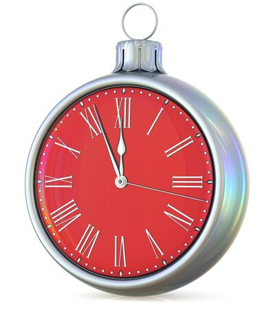 midnight time: New Years Eve clock midnight hour countdown pressure Christmas ball decoration ornament silver red sparkly adornment bauble. Seasonal happy wintertime holidays beginning future time. 3d illustration Stock Photo