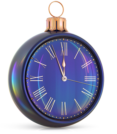 beginning: New Years Eve clock midnight last hour countdown pressure Christmas ball decoration ornament black sparkly adornment bauble. Seasonal happy wintertime holidays beginning future time. 3d illustration Stock Photo