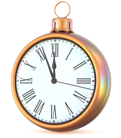 midnight time: New Years Eve clock midnight last hour countdown pressure Christmas ball ornament decoration gold white sparkly adornment bauble. Seasonal happy wintertime holidays begin future time. 3d illustration