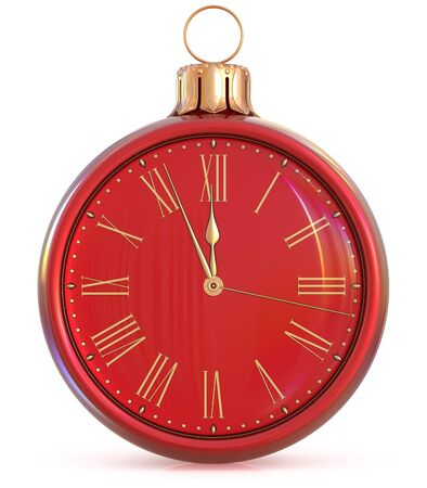 midnight time: New Years Eve clock midnight last hour countdown pressure Christmas ball decoration ornament red golden sparkly adornment bauble. Seasonal happy wintertime holidays begin future time. 3d illustration Stock Photo