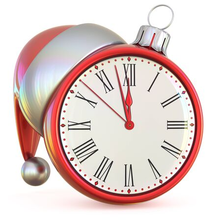 midnight time: New Years Eve time midnight last hour countdown Christmas ball clock Santa hat decoration ornament red adornment. Traditional happy Xmas wintertime holiday future beginning pressure. 3d illustration