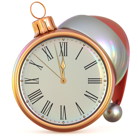 midnight time: New Years Eve clock golden Christmas ball midnight last hour countdown time Santa Claus hat decoration ornament adornment. Traditional happy wintertime holiday future begin pressure. 3d illustration
