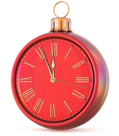 midnight time: New Years Eve clock midnight countdown last hour pressure Christmas ball ornament decoration red golden sparkly adornment bauble. Seasonal happy wintertime holidays begin future time. 3d illustration