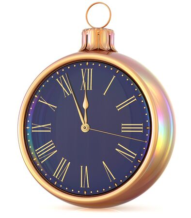 midnight time: New Years Eve clock midnight last hour countdown pressure Christmas ball decoration ornament black gold sparkly adornment bauble. Seasonal happy wintertime holidays begin future time. 3d illustration