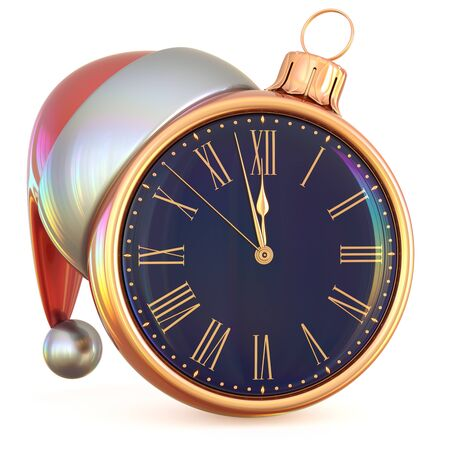 midnight time: New Years Eve last hour Christmas ball clock midnight countdown time Santa hat decoration ornament black golden adornment. Traditional happy wintertime holiday future begin pressure. 3d illustration Stock Photo