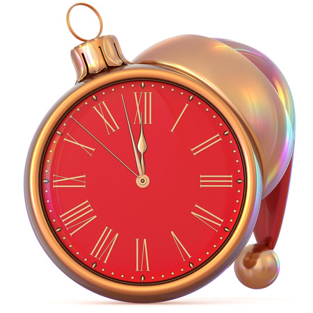 Christmas ball clock midnight last hour New Years Eve countdown time Santa Claus hat red golden adornment ornament decoration. Traditional happy wintertime holiday future pressure. 3d illustration