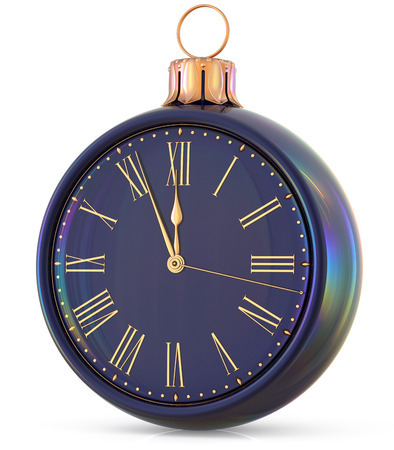 New Years Eve clock midnight last hour countdown pressure Christmas ball decoration ornament black sparkly adornment bauble. Seasonal happy wintertime holidays beginning future time. 3d illustration Stock Photo