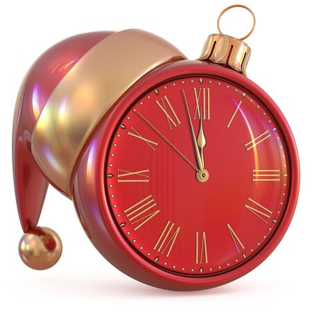 midnight time: New Years Eve last hour Christmas ball clock midnight countdown time Santa Claus hat decoration ornament red golden adornment. Traditional happy wintertime holiday future pressure. 3d illustration Stock Photo