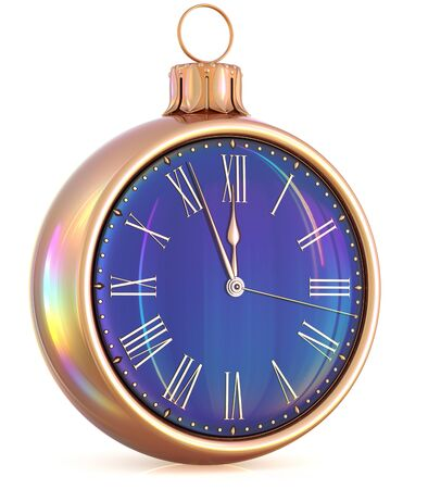 last year: New Years Eve last hour clock midnight countdown pressure Christmas ball decoration ornament black gold sparkly adornment bauble. Seasonal happy wintertime holidays begin future time. 3d illustration