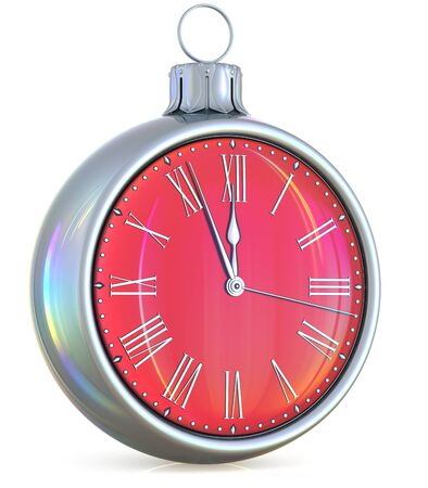 New Years Eve clock midnight last hour countdown pressure Christmas ball ornament decoration silver red sparkly adornment bauble. Seasonal happy wintertime holidays begin future time. 3d illustration