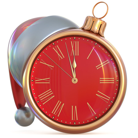 midnight time: Christmas ball clock New Years Eve last hour midnight countdown time Santa hat decoration ornament red gold adornment. Traditional happy wintertime holiday future beginning pressure. 3d illustration