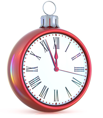 midnight time: New Years Eve clock midnight last hour countdown pressure Christmas ball ornament decoration red white sparkly adornment bauble. Seasonal happy wintertime holidays begin future time. 3d illustration Stock Photo