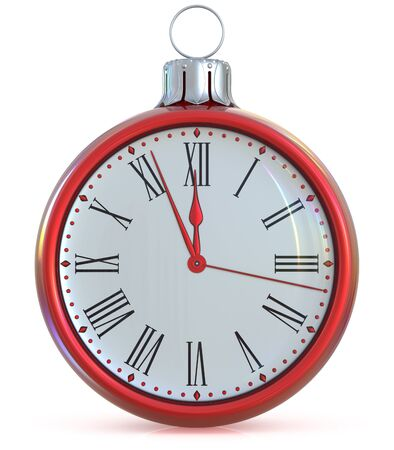 midnight time: Clock Christmas ball New Years Eve midnight last hour pressure ornament red white sparkly adornment bauble decoration. Seasonal happy wintertime holidays begin future countdown time. 3d illustration