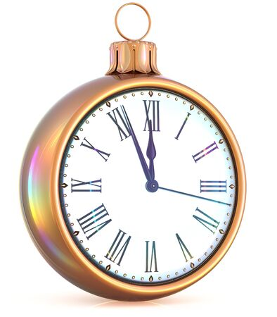 midnight time: New Years Eve last hour clock midnight countdown pressure Christmas ball ornament decoration gold white sparkly adornment bauble. Seasonal happy wintertime holidays begin future time. 3d illustration