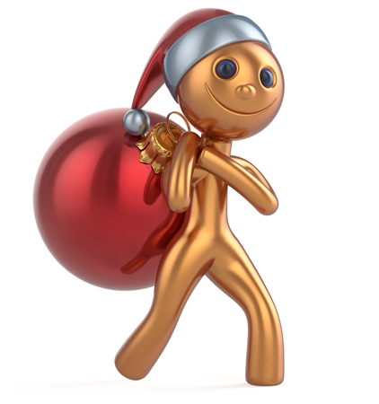 New Years Eve man Santa Claus hat smile happy character carries bag Christmas ball decoration ornament red golden gift bauble. Traditional Xmas wintertime holiday invite concept. 3d illustration Stock Photo