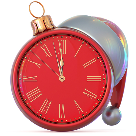 Christmas ball clock New Years Eve last hour midnight countdown time Santa Claus hat decoration ornament red adornment. Traditional happy Xmas wintertime holiday future begin pressure. 3d illustration