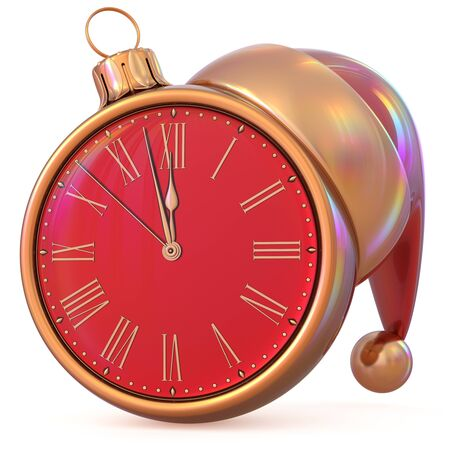 midnight time: New Years Eve last hour countdown Christmas ball clock midnight time Santa Claus hat red golden adornment ornament decoration. Traditional happy wintertime holiday future pressure. 3d illustration