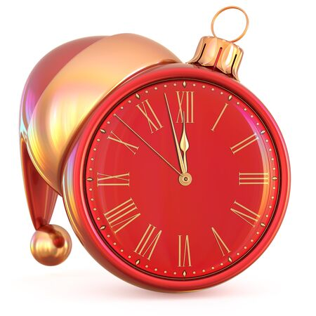 New Years Eve clock Christmas ball midnight last hour countdown time Santa Claus hat decoration ornament red adornment. Traditional happy wintertime holiday future beginning pressure. 3d illustration
