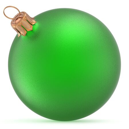 Christmas ball green wintertime ornament New Years Eve hanging shiny sphere decoration adornment bauble souvenir. Traditional happy winter holidays Merry Xmas symbol closeup. 3d illustration isolated