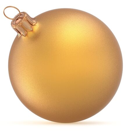 golden ball: Christmas ball golden wintertime ornament New Years Eve hanging shiny sphere decoration adornment bauble yellow. Traditional happy winter holidays Merry Xmas symbol closeup. 3d illustration isolated